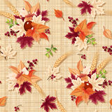 Seamless pattern with colorful autumn leaves on a sacking background. Vector eps-10. Royalty Free Stock Image