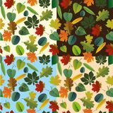 Seamless pattern of colorful autumn leaves. Vector Stock Photo