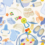 Seamless pattern with colorful baby items for newborn boy Stock Photography