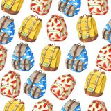 Seamless pattern of colorful backpacks with red melon Stock Photography