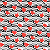 Seamless pattern with colorful badge shape hearts on black dotty background.  Stock Images