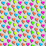 Seamless pattern with colorful badge shape hearts on black striped background. Royalty Free Stock Images