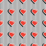 Seamless pattern with colorful badge shape hearts on black striped background. Vector illustration with heart stickers Stock Images