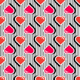 Seamless pattern with colorful badge shape hearts on black striped background. Vector illustration with heart stickers Royalty Free Stock Images