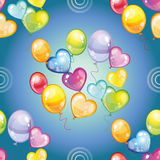 Seamless pattern with colorful balloons on blue background. Vector illustration Royalty Free Stock Photography