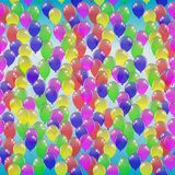 Seamless pattern of colorful balloons on a blue sky background. Vector illustration Stock Photo