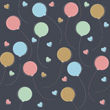 Seamless pattern with colorful balloons and hearts Royalty Free Stock Photography