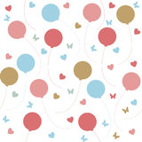 Seamless pattern with colorful balloons and hearts  on w. Seamless pattern with colorful balloons, hearts and butterflies  on white background Royalty Free Stock Photo