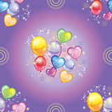 Seamless pattern with colorful balloons on purple background Stock Photos