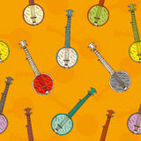 Seamless Pattern with Colorful Banjos Royalty Free Stock Images
