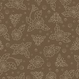 Seamless illustration with colorful bees and flowers ,beige outline on a brown background. Seamless pattern with colorful bees and flowers ,beige outline on a royalty free illustration