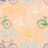 Seamless pattern of colorful bicycles. Flat style Royalty Free Stock Photography