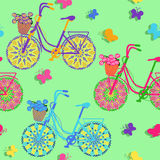 Seamless pattern of colorful bicycles Royalty Free Stock Photos