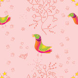 Seamless pattern with colorful birds and branches Royalty Free Stock Photos