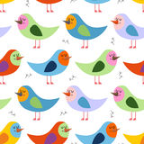 Seamless pattern of colorful birds. Vector background for fun ch Stock Photo