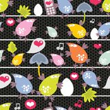 Seamless pattern of colorful birds. Stock Image