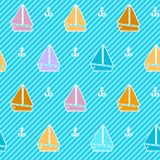Seamless pattern with colorful boats. Over striped background Stock Images