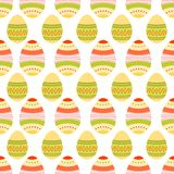 Seamless pattern of dotted and wavy easter eggsSeamless pattern of dotted and wavy easter eggs. Seamless pattern of colorful boho Easter eggs with beautiful Royalty Free Stock Photo