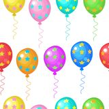 Seamless pattern. Brightly colored balloons. Vector illustration. Seamless pattern. Colorful bright balloons. Bright background for festive packaging design Stock Photos