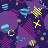 Colorful Memphis Style Throwback Seamless Pattern vector illustration