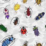 Seamless pattern with colorful bugs. Bright vector drawing of small beetles. Insect on the background with gray leaves. Cartoon bug wallpaper Royalty Free Stock Images