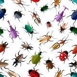 Seamless pattern of colorful bugs illustration on white background website page and mobile app design.  royalty free illustration