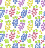 Seamless Pattern with Colorful Bunches of Grape Royalty Free Stock Images