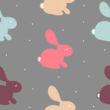 Seamless pattern with colorful  bunny on white. Vector cute texture with rabbit on grey background. For textile, wrapping, fabric, etc Royalty Free Stock Photo
