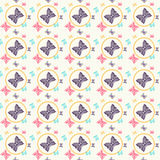 Seamless pattern with colorful butterflies. Stock Photo
