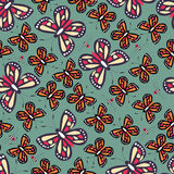 Seamless pattern with colorful butterflies and bees, nature life Royalty Free Stock Photography