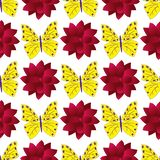 Seamless pattern with colorful butterflies and large red dahlias royalty free illustration