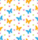 Seamless Pattern with Colorful Butterflies, Repeating Backdrop Stock Images