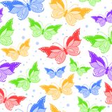 Seamless pattern with colorful butterflies vector illustration