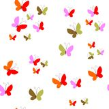 Seamless pattern with colorful butterflies on white background. Stock Images