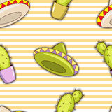 Seamless pattern of colorful cacti and sombreros. Stock Photo