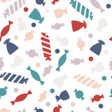 Seamless pattern with colorful candy. Candy for Halloween party. Vector candy for the web, for a card or for scrapbooking Stock Photo