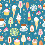 Seamless pattern of colorful candy and ice cream Royalty Free Stock Image