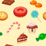 Seamless pattern colorful candy, sweets and cakes Royalty Free Stock Photos