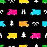 Seamless pattern with colorful car, ax ,fir-tree and binoculars. On the black background. Vector illustration Stock Photos