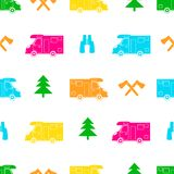 Seamless pattern with colorful car, ax ,fir-tree and binoculars. On the white background. Vector illustration Royalty Free Stock Images