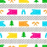 Seamless pattern with colorful car, ax ,fir-tree and binoculars. On the white background. Vector illustration Stock Photo
