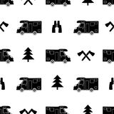 Seamless pattern with colorful car, ax ,fir-tree and binoculars. On the white background. Vector illustration Royalty Free Stock Image