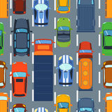 Seamless pattern with colorful cars on road vector. Cartoon truck travel highway traffic jam decoration. Wallpaper with street transportation vector illustration