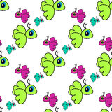 Seamless pattern with colorful cartoon birds Royalty Free Stock Photos