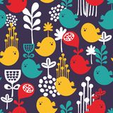 Seamless pattern with colorful cartoon birds. Royalty Free Stock Photography