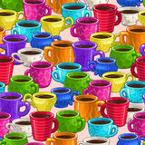 Seamless pattern with colorful cartoon coffee cups Stock Photography
