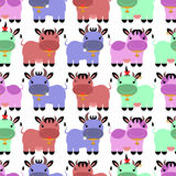 Seamless pattern with colorful cartoon cows Royalty Free Stock Images