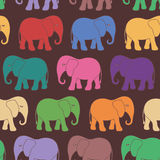 Seamless pattern with colorful cartoon elephant Royalty Free Stock Images