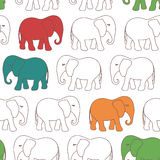 Seamless pattern withl cartoon elephant Stock Photography