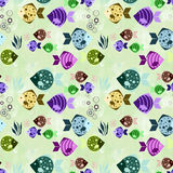 Seamless pattern with colorful cartoon fish. On a light green background Stock Image
